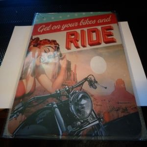 GET ON YOUR BIKES AND RIDE 8X10 INCH METAL SIGN